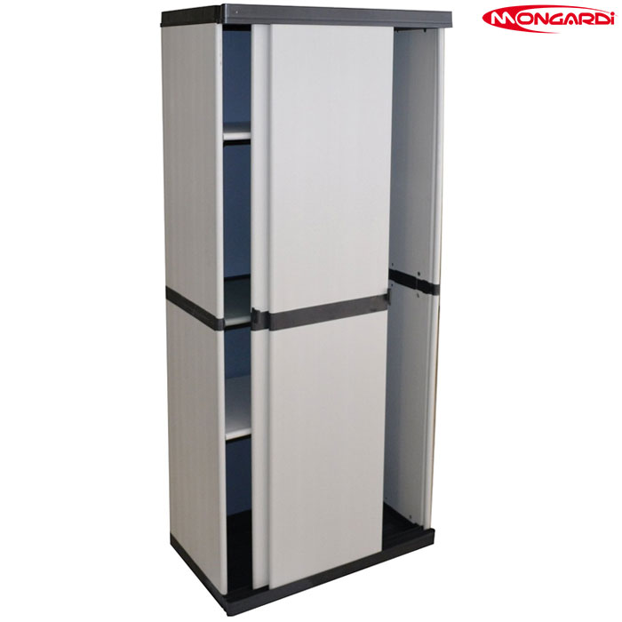 Armadio In Plastica Porta Scope.Armadio In Plastica Portascope Ante Scorrevoli 168x68x39 5 Cm Grigio