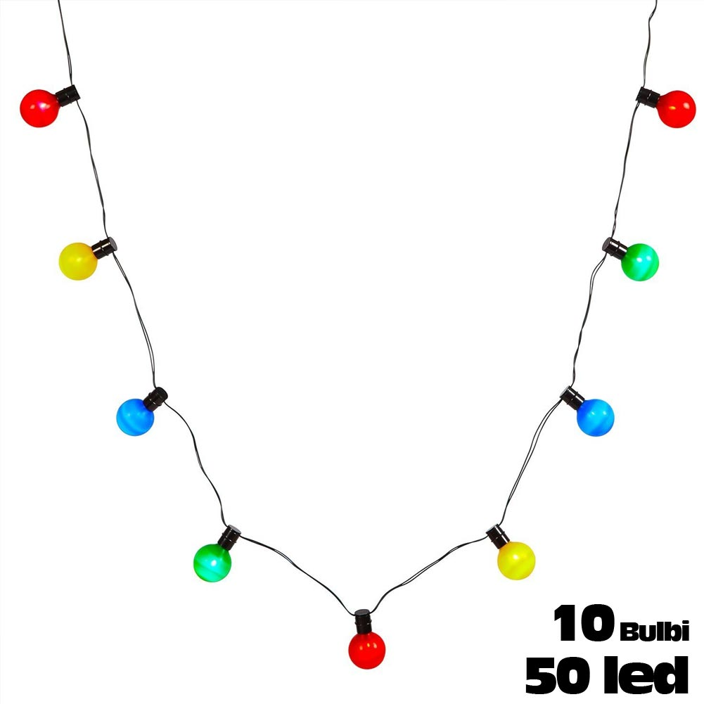 Catena luminosa per esterno 50 led 10 luci colorate bulbi for Luci a led prezzi
