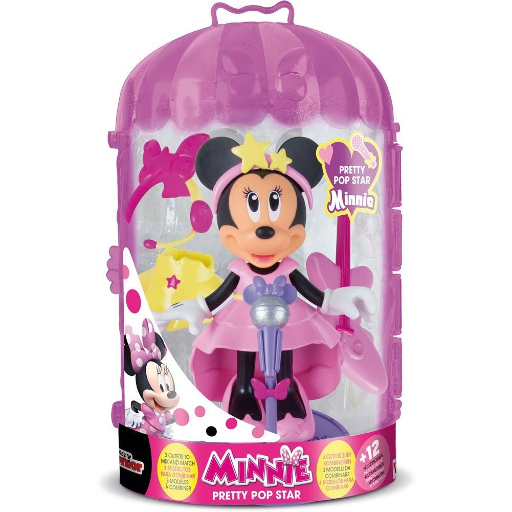 PLAYSET MINNIE FASHION DOLL POP STAR IMC TOYS CON VESTITI INTERCAMBIABILI.