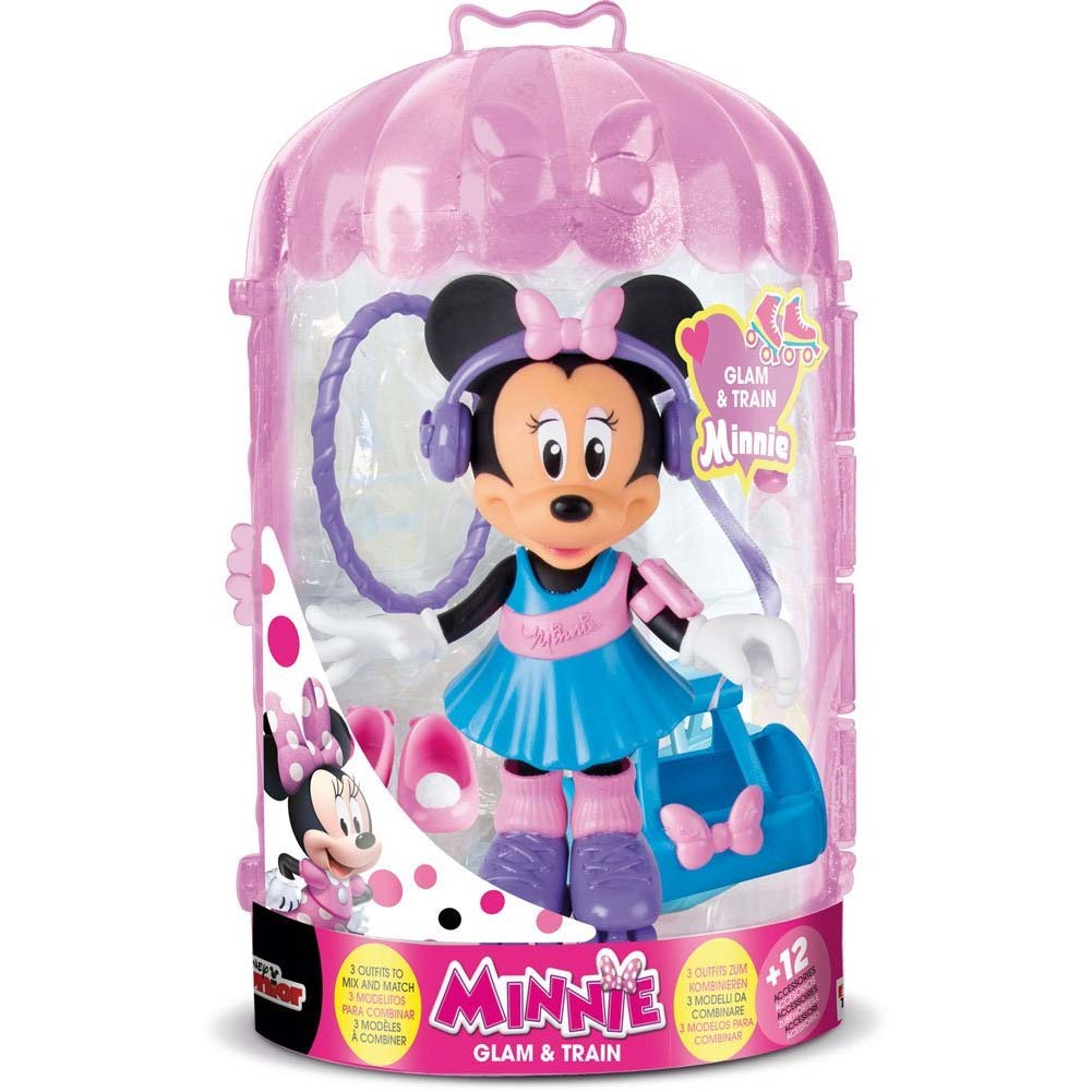 PLAYSET MINNIE FASHION DOLL GLAM AND TRAM IMC TOYS CON VESTITI INTERCAMBIABILI.