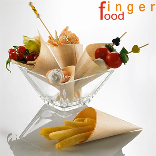 SET 12 CONI FINGER FOOD IN FIBRA DI PIOPPO CATERING APERITIVO 17 x 11,5 CM.