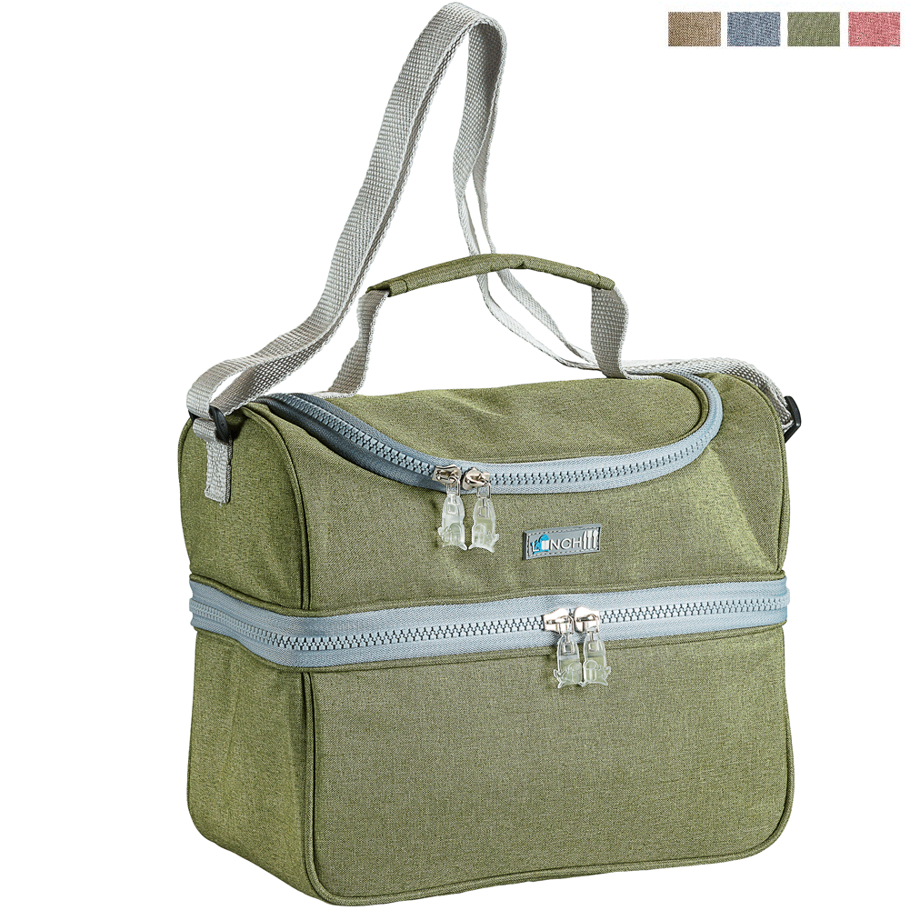 BORSA TERMICA 2 SCOMPARTI LUNCH PACK 4+3 LITRI CON TRACOLLA COLORI ASSORTITI.