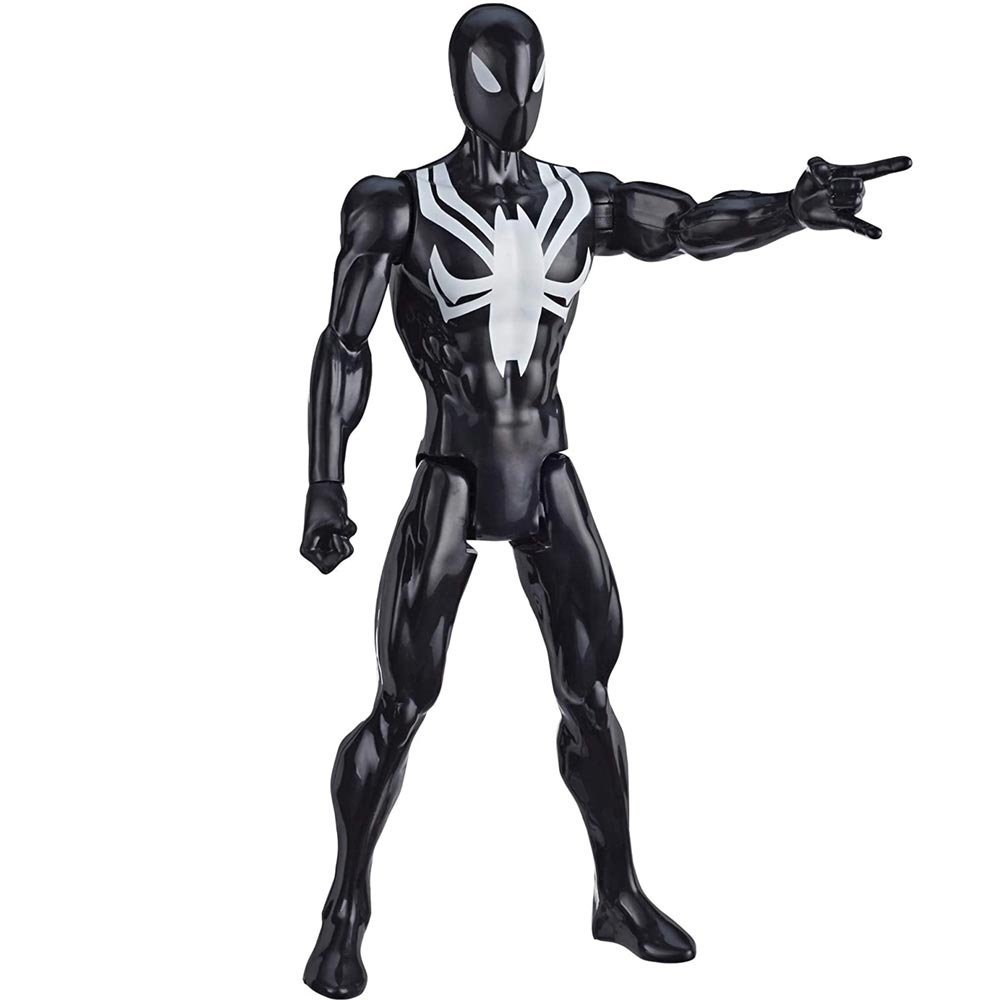 Action Figures Marvel Personaggio Spiderman Black Suit Titan Hero Series.