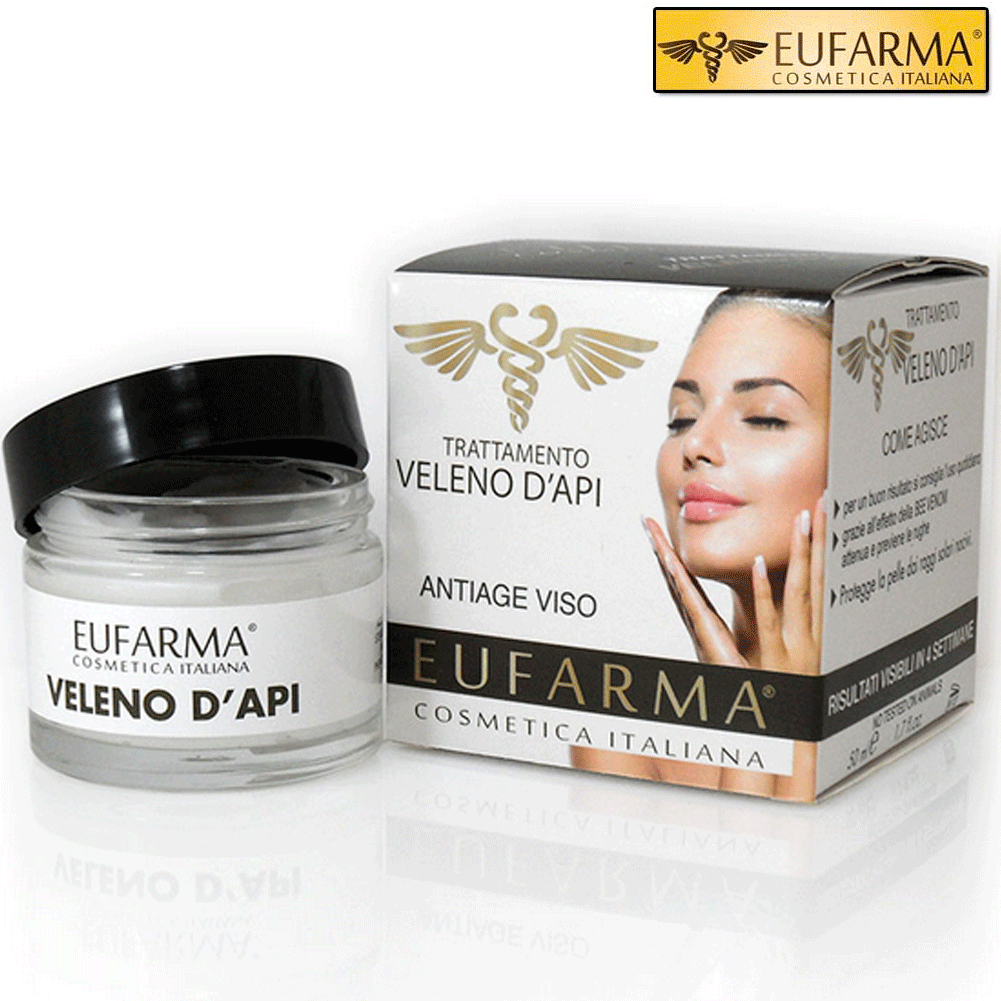 EUFARMA CREMA VISO ANTI-RUGHE ANTI-AGE AL VELENO D'API 50 ML MADE IN ITALY.