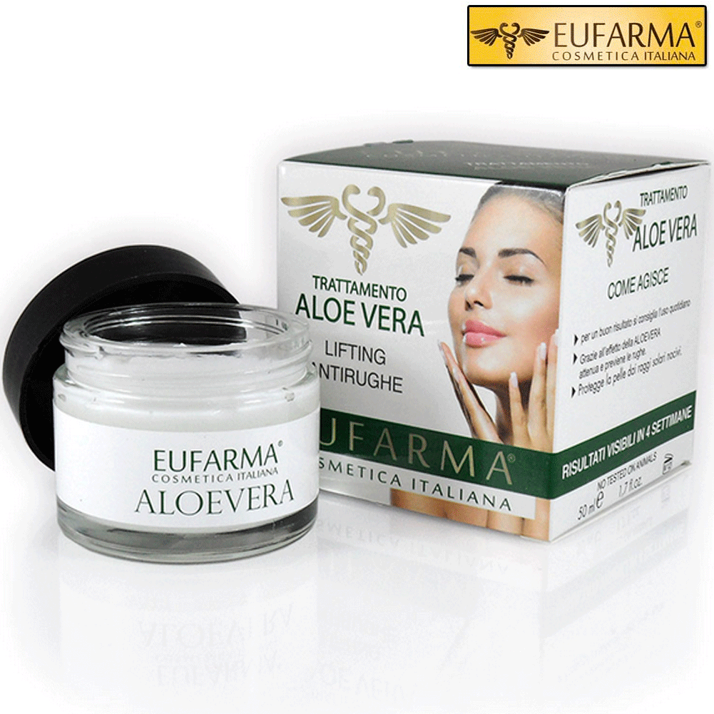EUFARMA CREMA VISO ALOE VERA LIFTING ANTIRUGHE IDRATANTE 50 ML MADE IN ITALY.