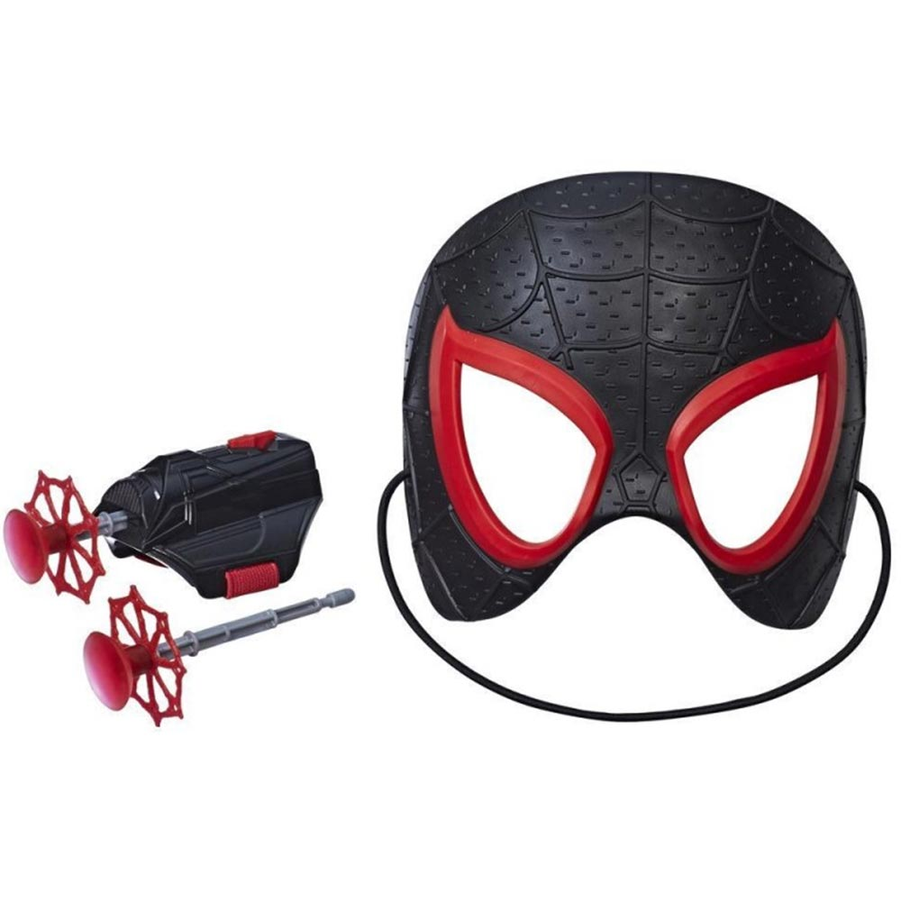 Maschera Miles Morales Spiderman Into the Spider-Vers con Lancia Ragnatele.