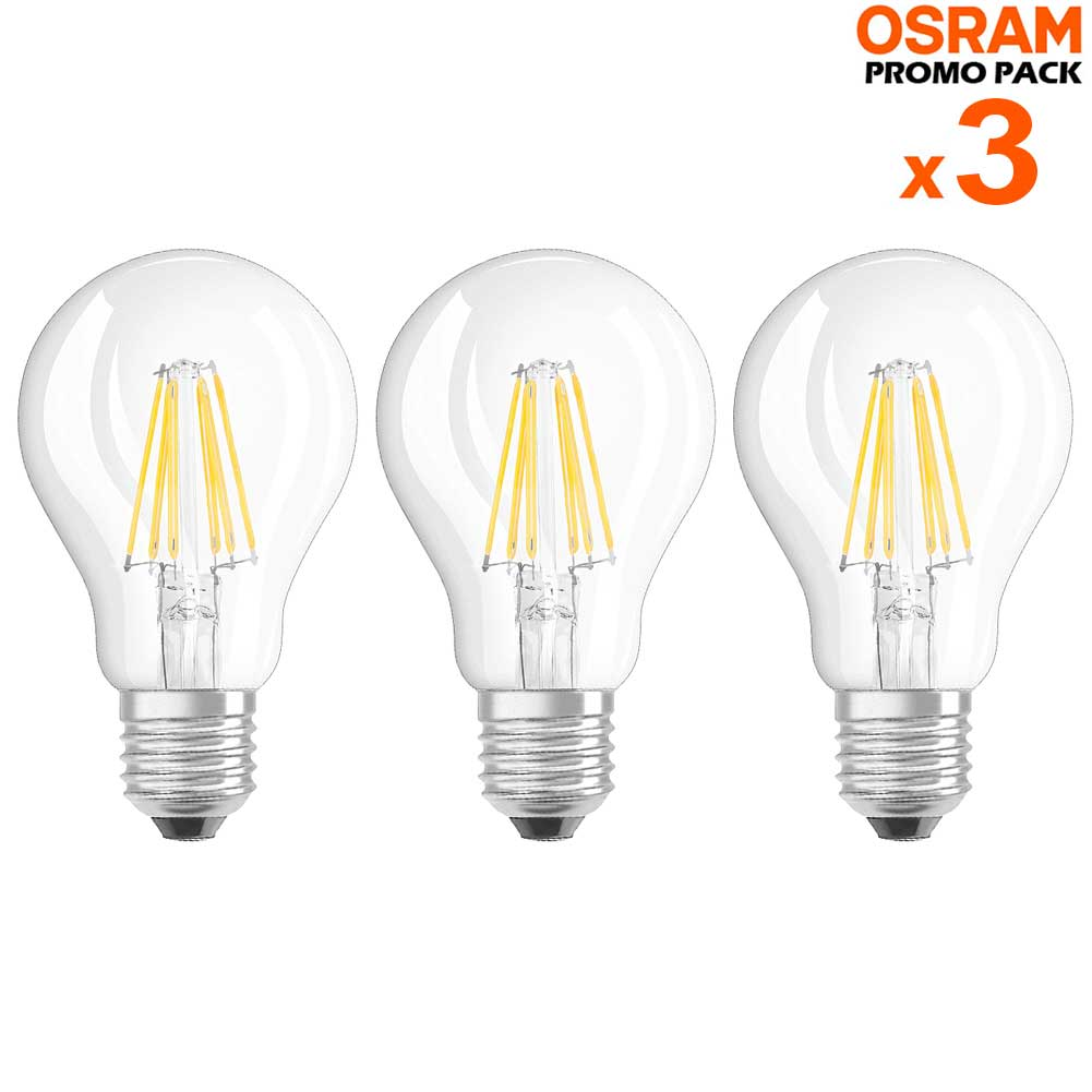 3 Lampadine LED Bulbo E27 da 6W Luce Neutra 4000K 806 Lumen Equivalente 60W.