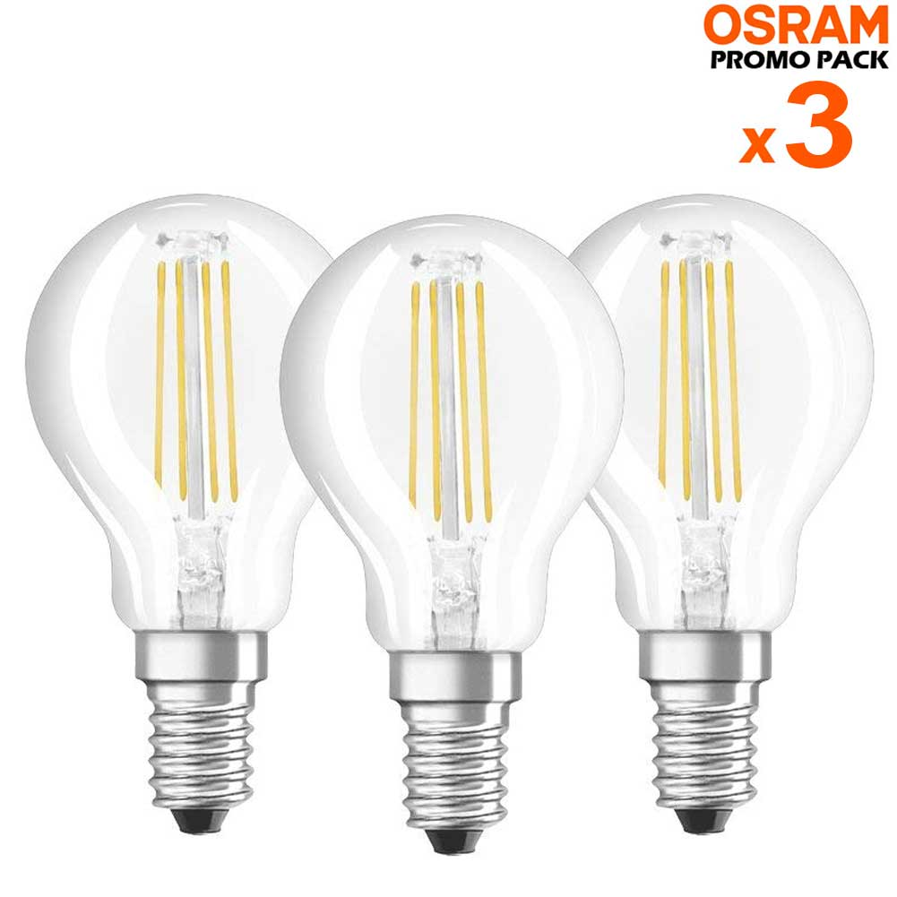 3 Lampadine LED Bulbo E14 da 4W Luce Neutra 4000K 470 Lumen Equivalente 40W.