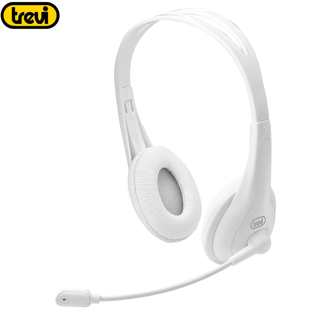 CUFFIA CUFFIE STEREO MICROFONO PC NOTEBOOK SKIPE MSN AUDIO GAMING TREVI BIANCO  .