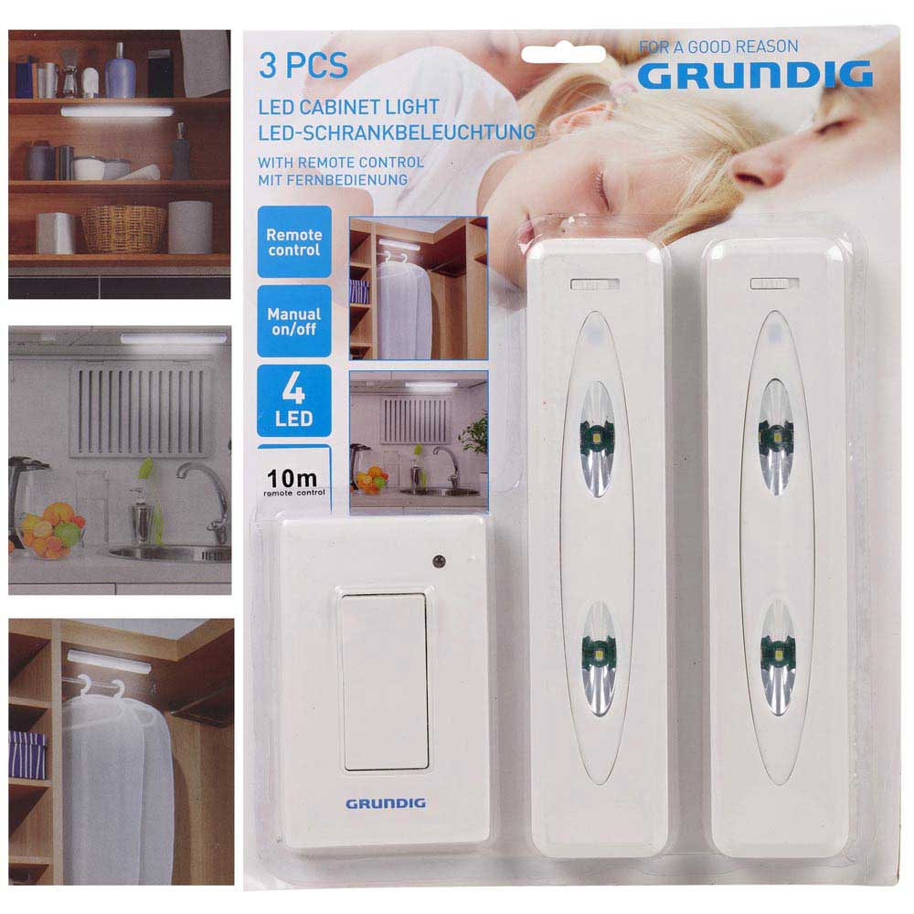 SET 2 PUNTI LUCE LED CON INTERRUTTORE WIRELESS PER ARMADIO E MOBILI GRUNDIG.