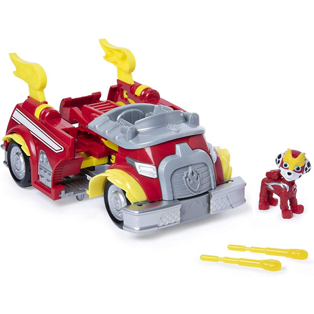 Paw Patrol Camion pompieri Trasformabile Personaggio Marshall Powered Up Fire.