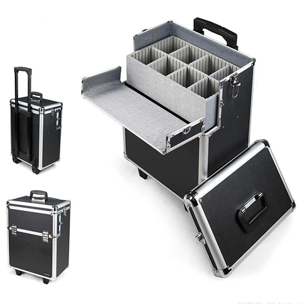 Trolley Make Up Valigia Porta Trucco Beauty Case Trucchi Nail art Estetista Nero.