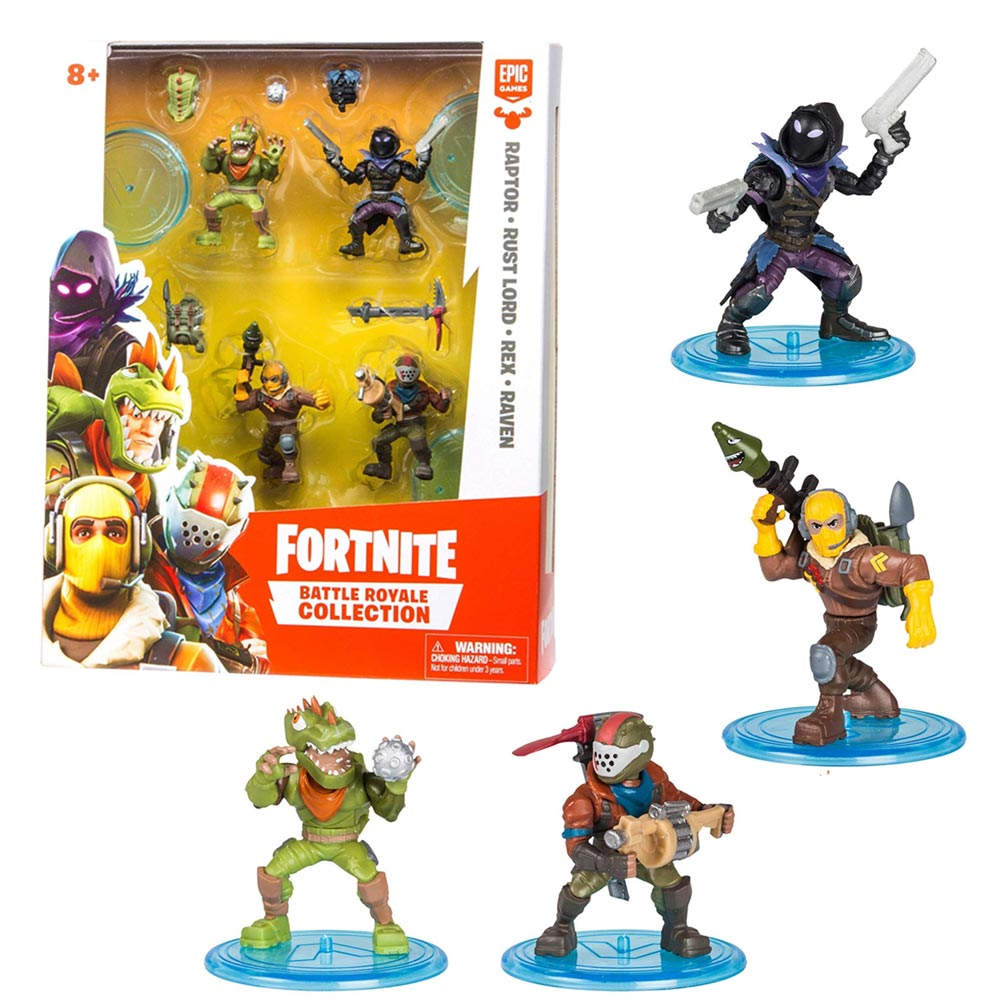 Set 4 Action Figures Personaggi Fortnite Battle Royal con Armi e Accessori.