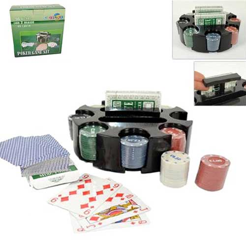 SET DA POKER COMPOSTO DA 96 FICHES E 2 MAZZI DI CARTE BASE CUSTODIA ROTONDA.