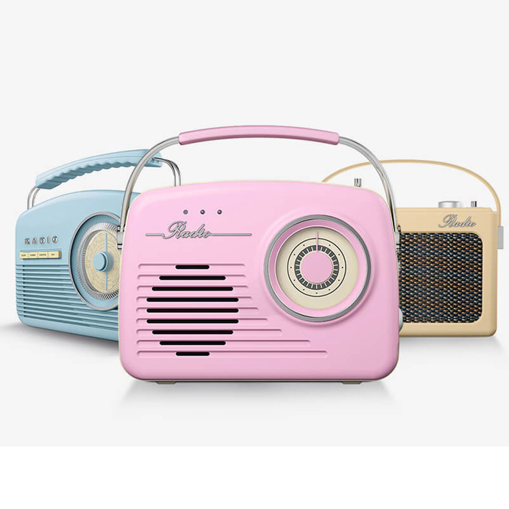 Radio AM/FM Stile Vintage Retro' Rosa Cassa 11W Ingresso USB SD MP3 AUX Akai .