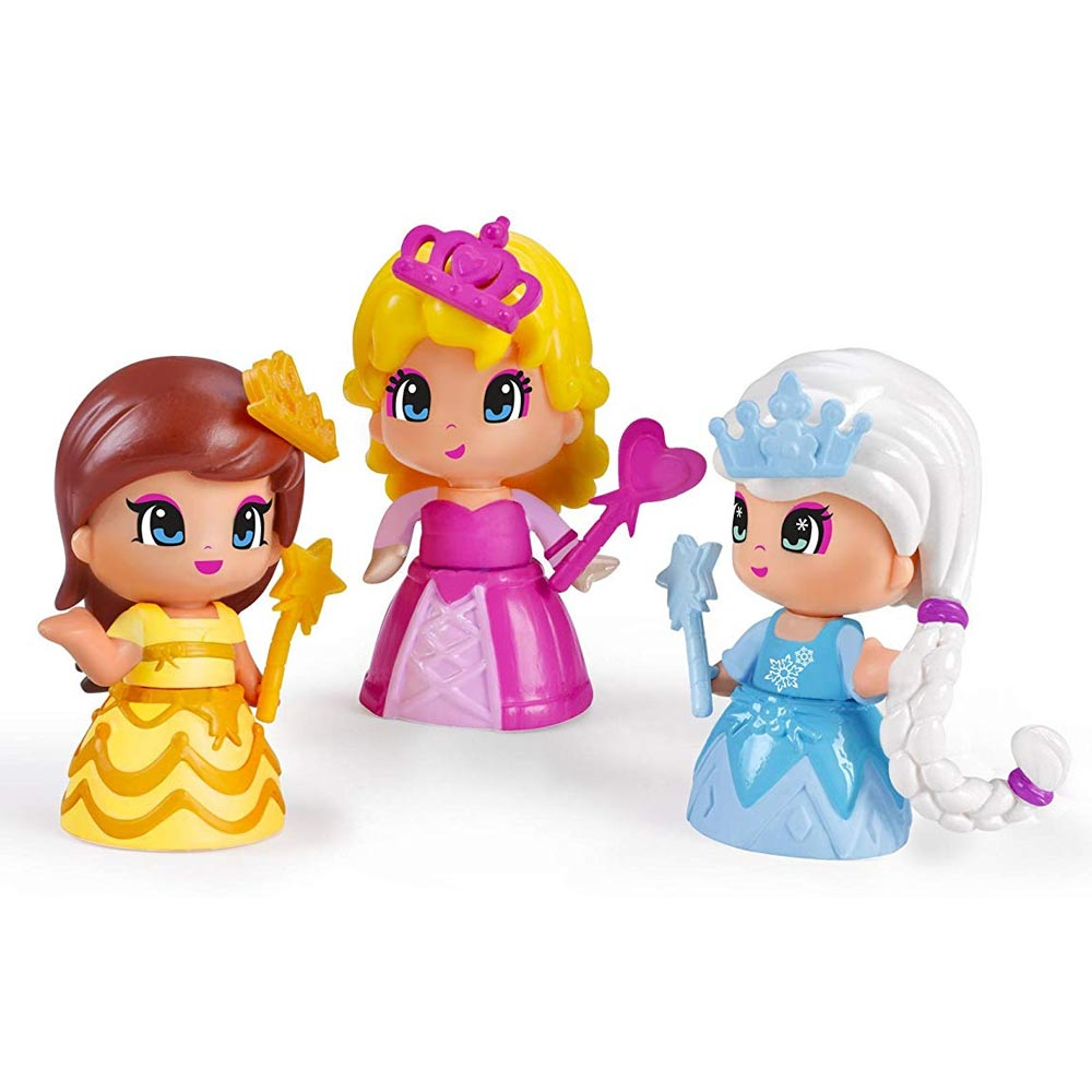 Pinypon Set 3 Bambole Personaggi Principesse Mix Max con Accessori Gioco Famosa.