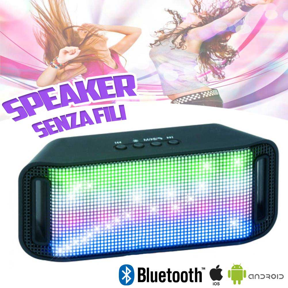 Cassa Speaker Bluetooth Senza Fili Wireless Luci LED Smartphone Tablet 13x6cm.