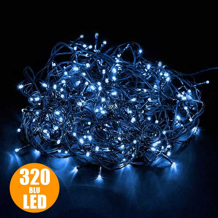 Catena luci a led luminosa natalizia 30 metri 320 led blu for Luci a led prezzi