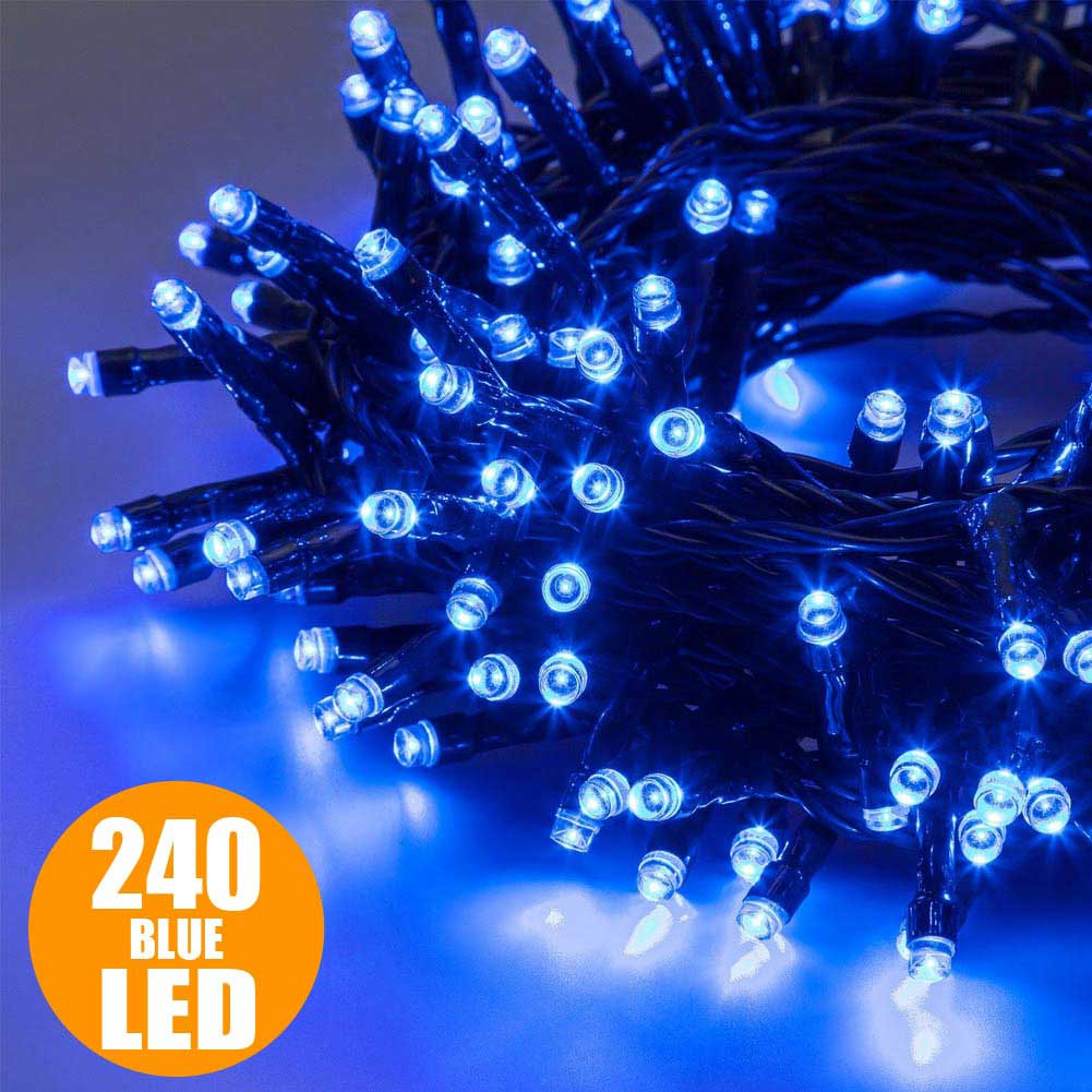 Catena luminosa natale 240 luci a led blu per interno ed for Luci a led prezzi