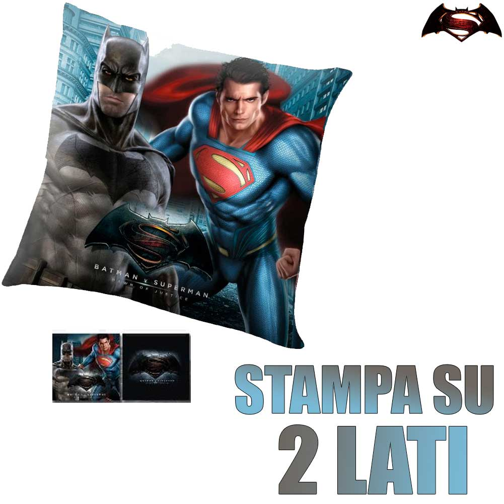 Cuscino Batman VS Superman 40 x 40 cm a 2 Lati Cameretta Bambini Blu Nero Kids.