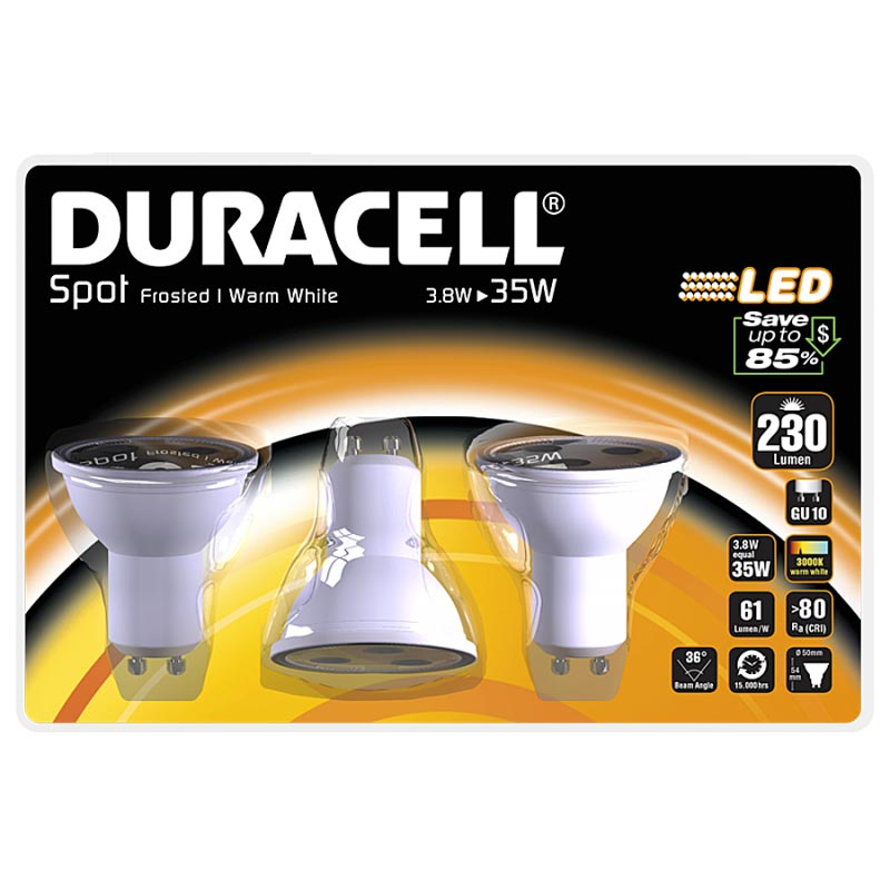 Duracell Set 3 pezzi Lampadina a LED Spot Light 3.8W bianco caldo.