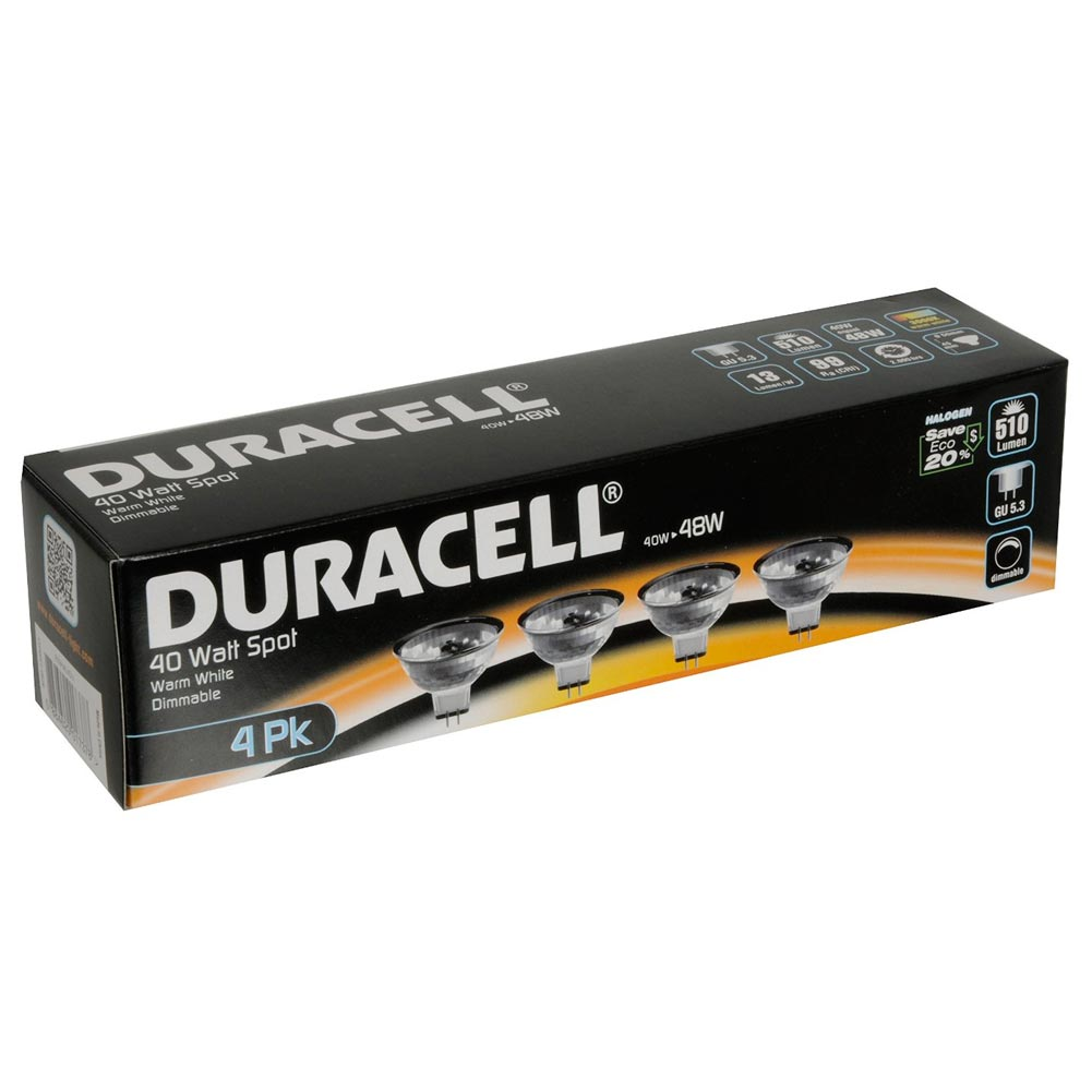 Duracell Set 4 pezzi Lampadina Alogena Dimmerabile 40W GU5,3 3200K bianco caldo.