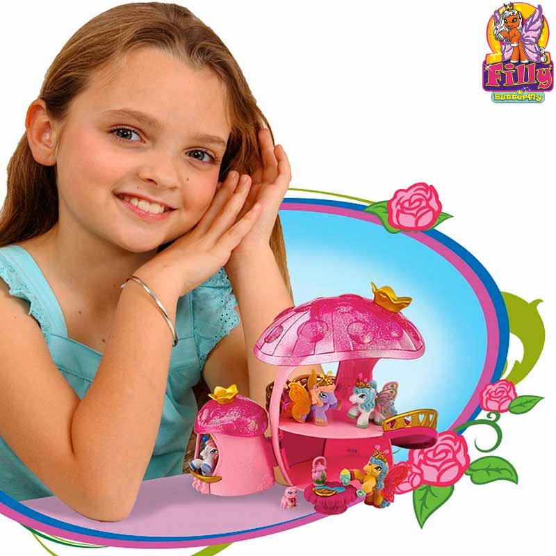 Filly Butterfly La Casa Fungo Con Scivolo Play Set + 2 Personaggi Bambine Giochi.
