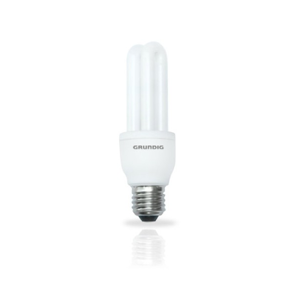Grundig Lampadina a Risparmio Energetico Forma 2 Tubi Mini 7W E27 luce calda.