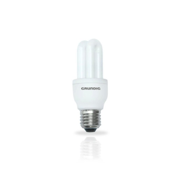 Grundig Lampadina Risparmio Energetico Forma 2 Tubi Mini 5W E27 luce calda.