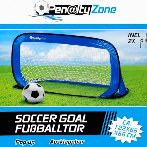 Porta Da Calcio Apertura Pop-Up 122x66cm Sport Esterno Calcetto Blu Penalty Zone.