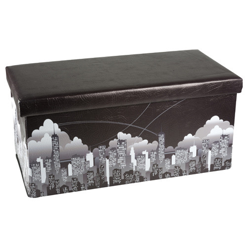 pouf pouff puff ottoman pieghevole contenitore new york city 77x38x38 ecopelle ebay. Black Bedroom Furniture Sets. Home Design Ideas