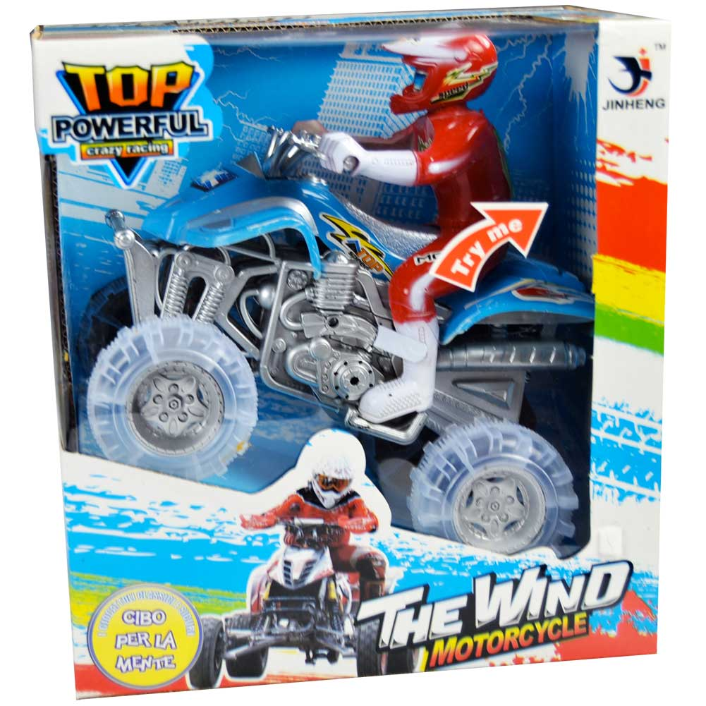 Quad + Personaggio Con Luci e Suoni Top Powerful Crazy Racing Kidz Corner.