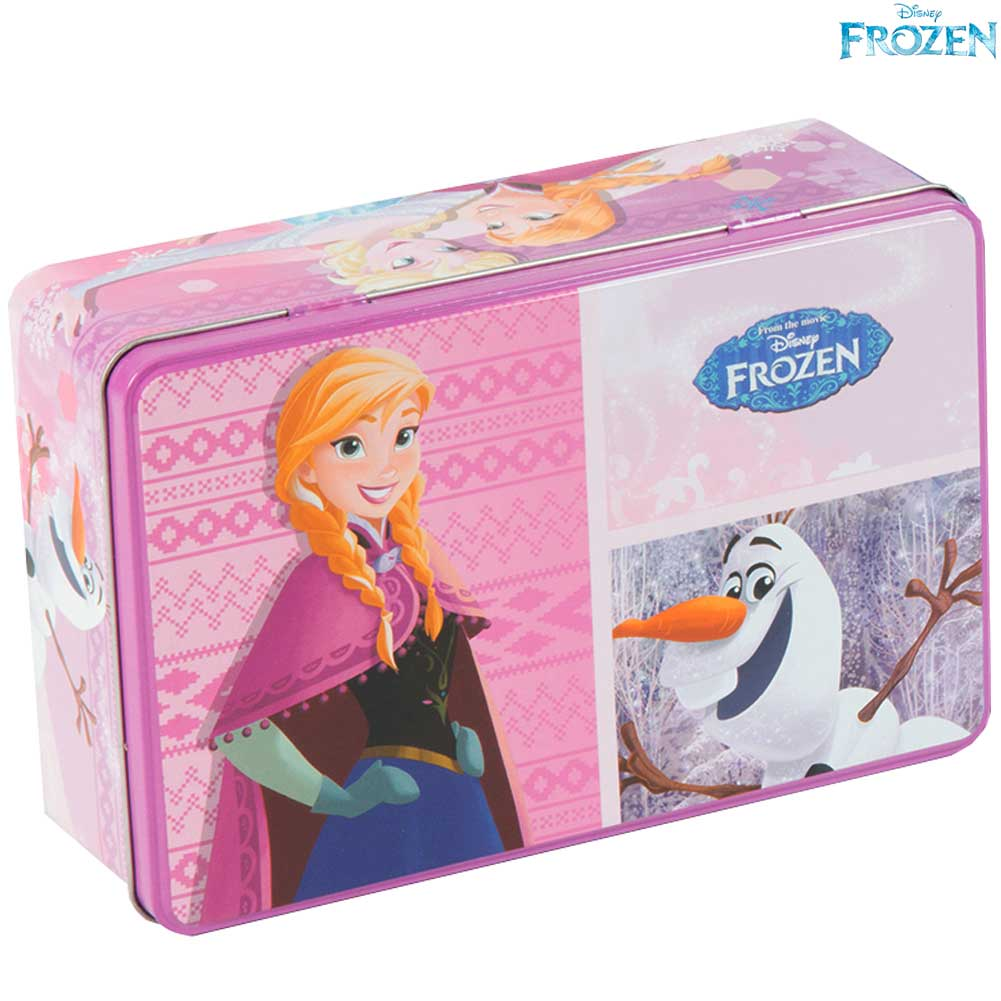 Scatola Frozen Box In Latta Alluminio Disney Bambine Olaf Elsa Anna Accessori.