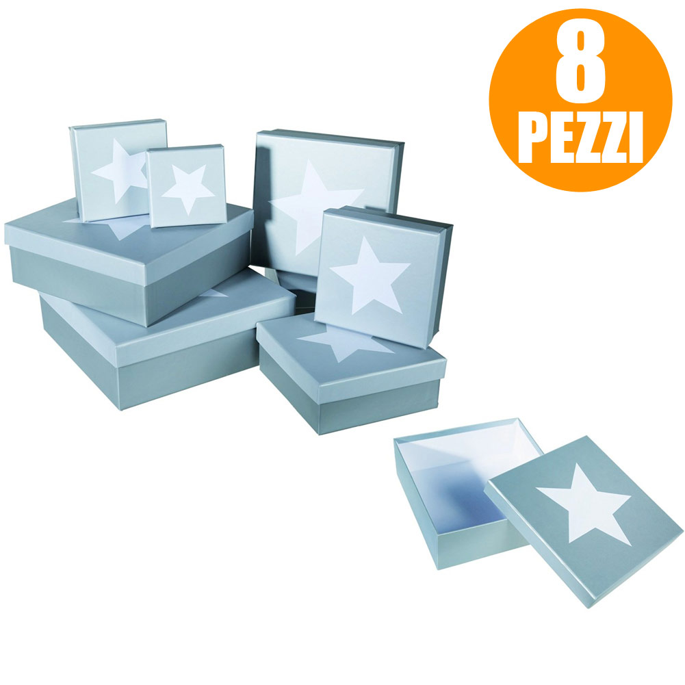 Set 8 Pezzi Scatola Regalo Carta Con Stella Bianca Out Of The Blue Col Argento.