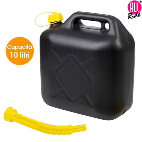 Tanica 10 litri con Tubo Flessibile per Benzina Acqua Carburante Nero All Ride.
