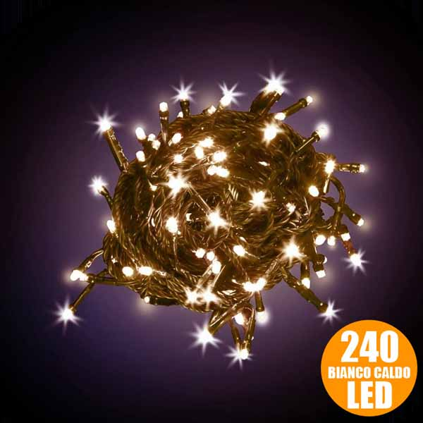 Catena luci a led luminosa natalizia metri 240 led bianco for Luci a led prezzi
