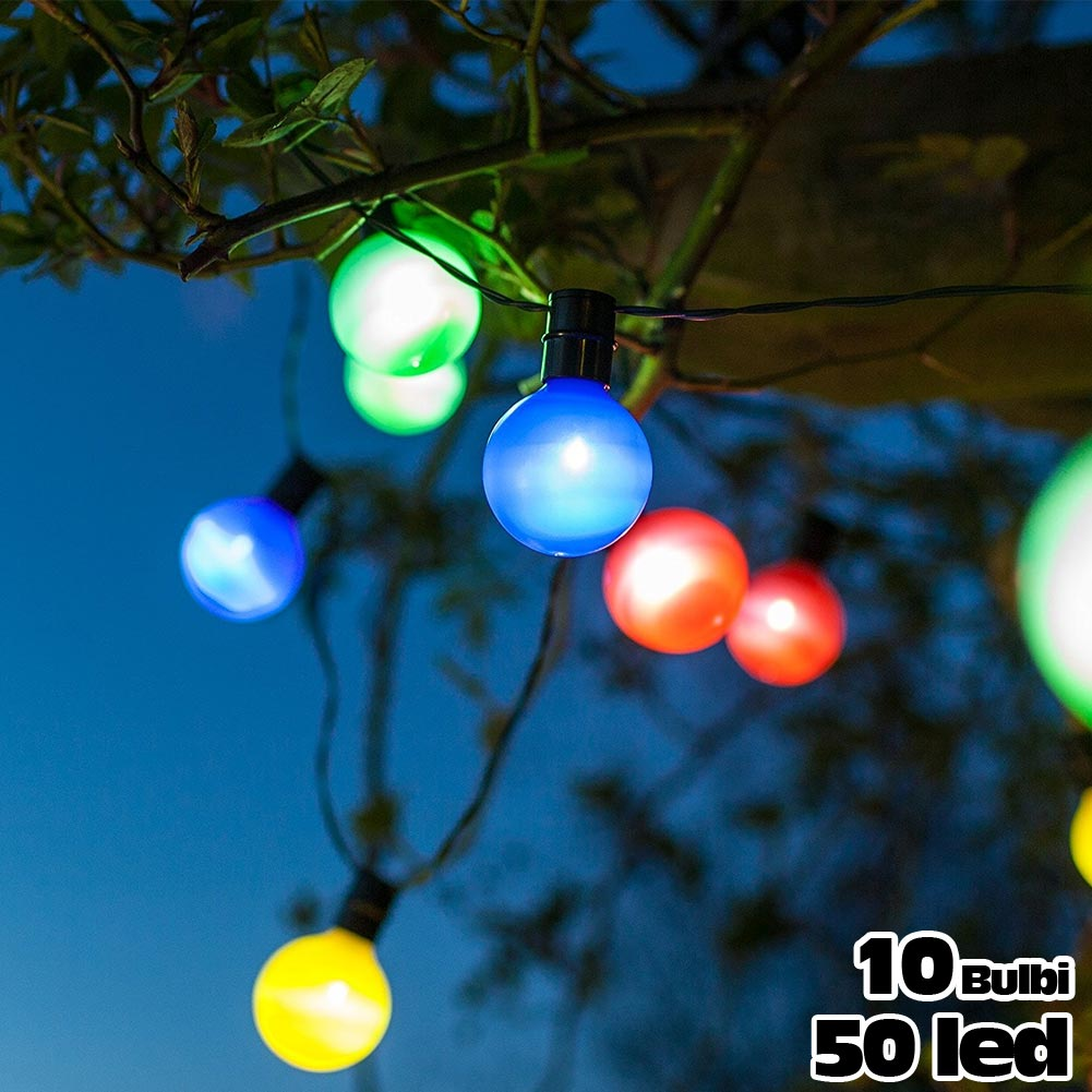 Catena luminosa per esterno 50 led 10 luci colorate bulbi - Luci led per esterno ...