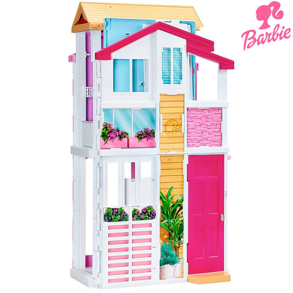 Casa di malibu di barbie con 3 piani 4 stanze ascensore for La casa di malibu