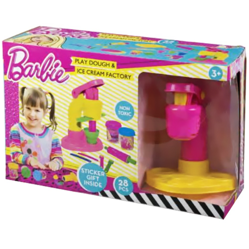 BARBIE MACIC PLASTILINA PASTA MODELLANTE SET ICE CREAM CON TRAFILA E ACCESSORI.