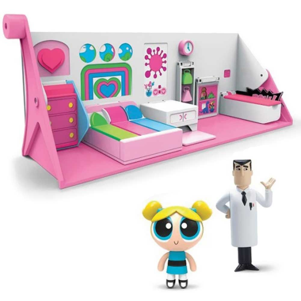 Playset Laboratorio Superchicche Trasformabile 2in1 Powerpuff Girl Dolly e Prof.