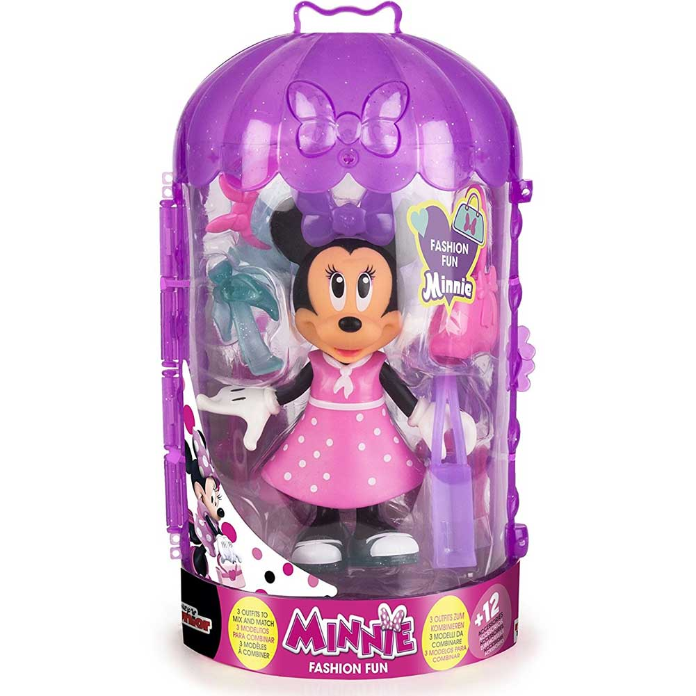 PLAYSET MINNIE FASHION DOLL IMC TOYS CON VESTITI INTERCAMBIABILI E ACCESSORI.