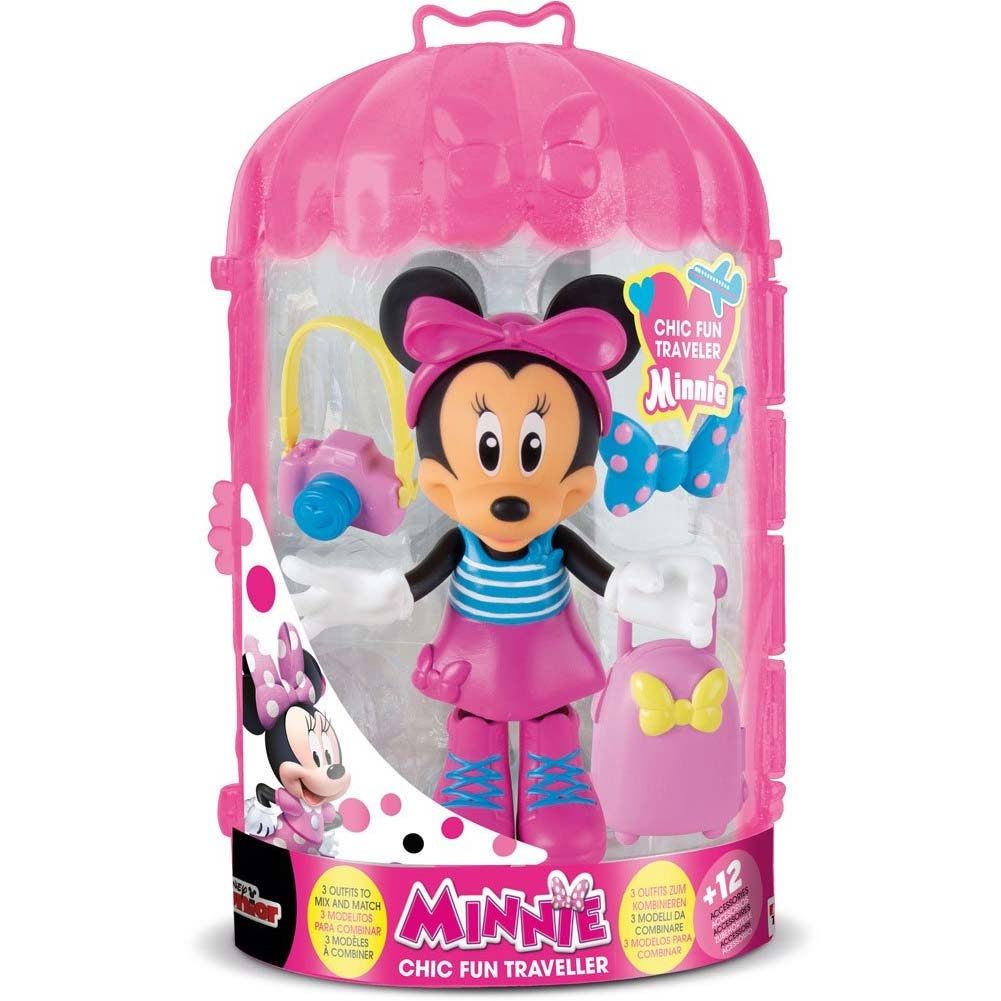 PLAYSET MINNIE FASHION DOLL FUN TRAVELLER  IMC TOYS CON VESTITI INTERCAMBIABILI.
