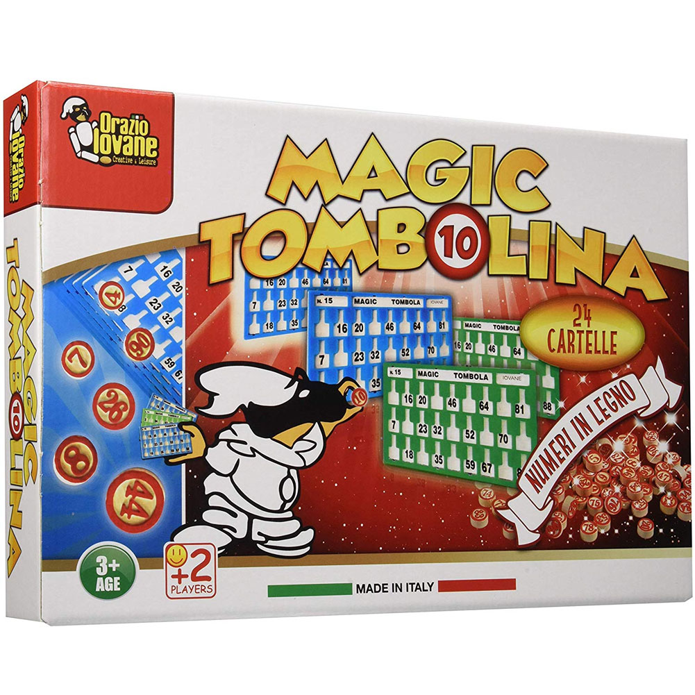 Tombola Magic Tombolina con 24 Cartelle Cartellone e Numeri in legno