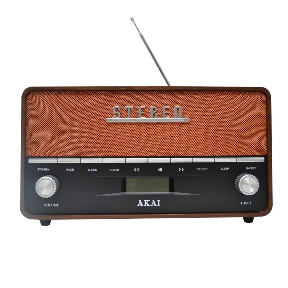 Radio FM Cassa Speaker Bluetooth Design Vintage Altoparlante Akai MP3 USB Legno.