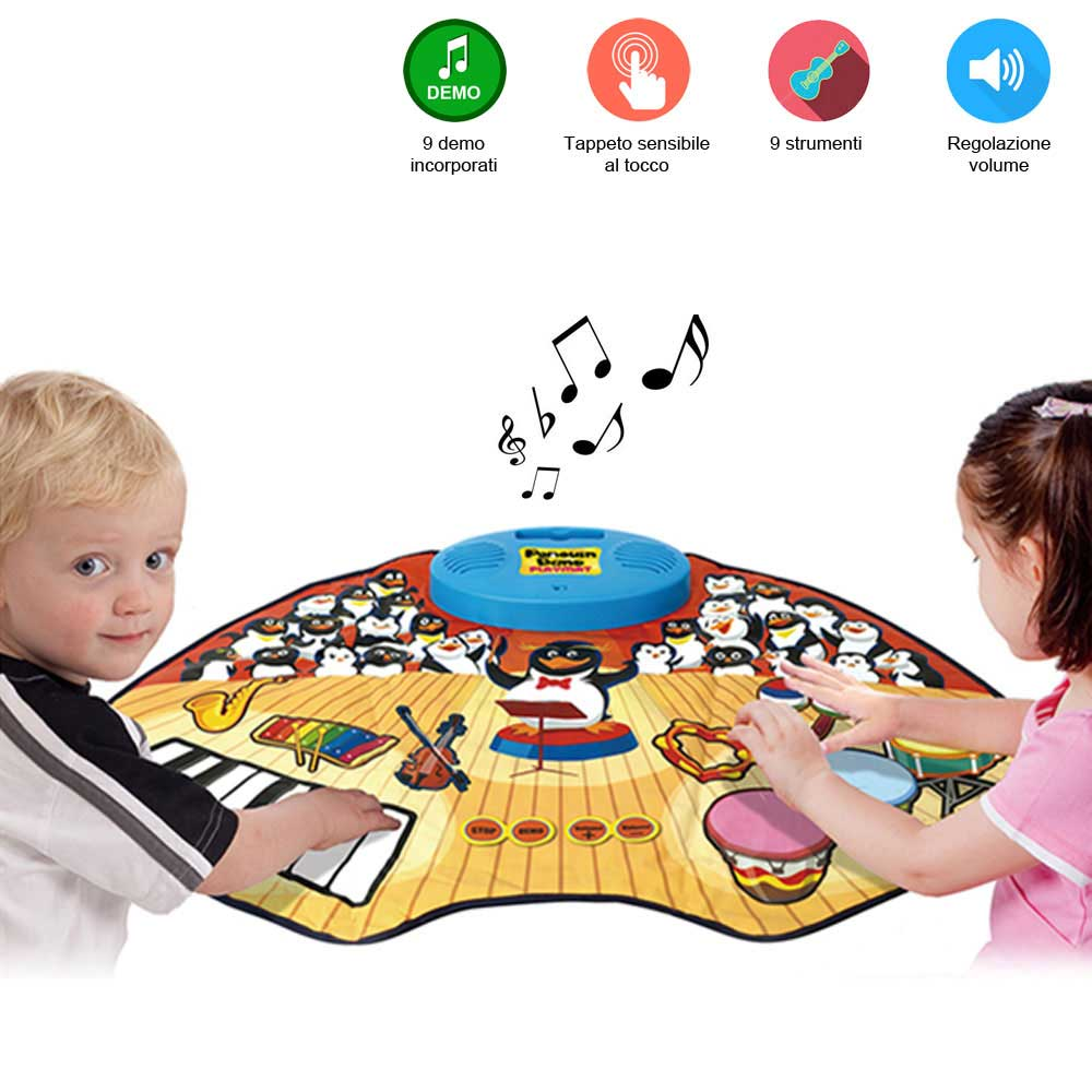 Tappeto musicale penguin band playmat 9 strumenti con ingresso mp3 e demo.
