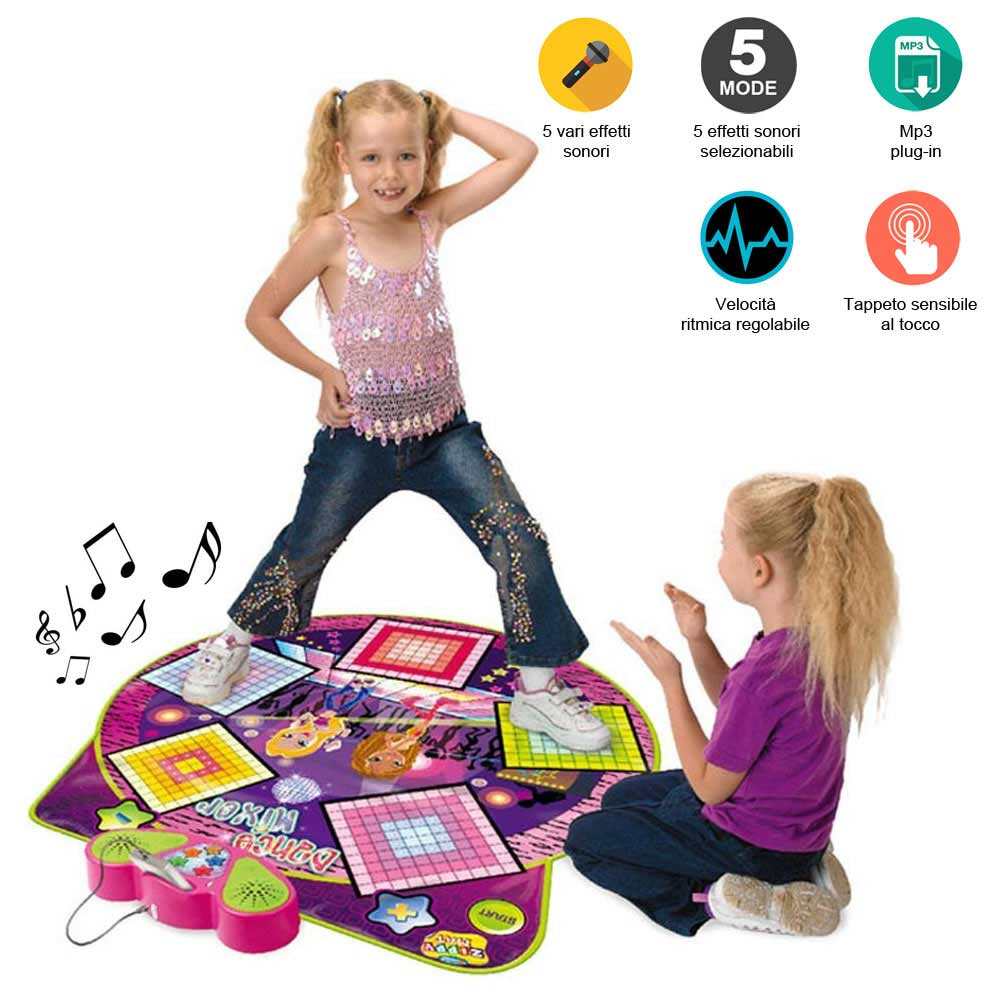 Tappeto musicale da ballo dance mixer playmat ingresso mp3 ritmo regolabile.