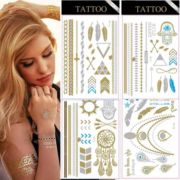 Tatoo tatuaggi stikers gold silver metallic temporanei da applicare assortiti.