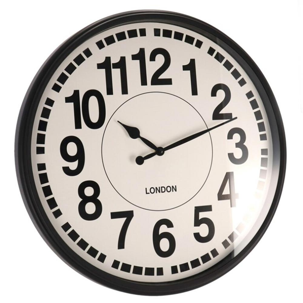 Orologio da parete london design moderno in plastica nera diamentro 50cm.