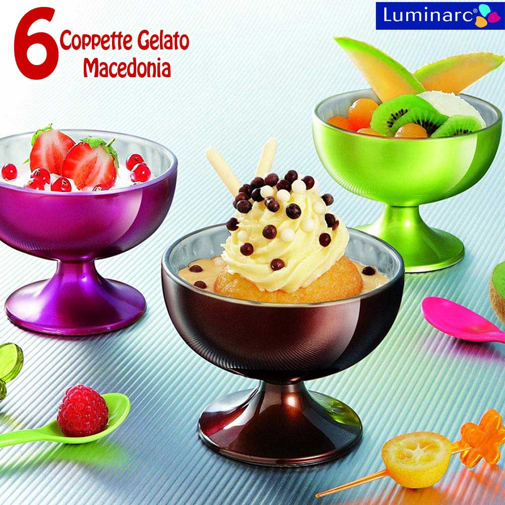 6 PZ COPPETTE GELATO SORBETTO MACEDONIA DESSERT LUMINARC FLASHY COLOR 21CL.