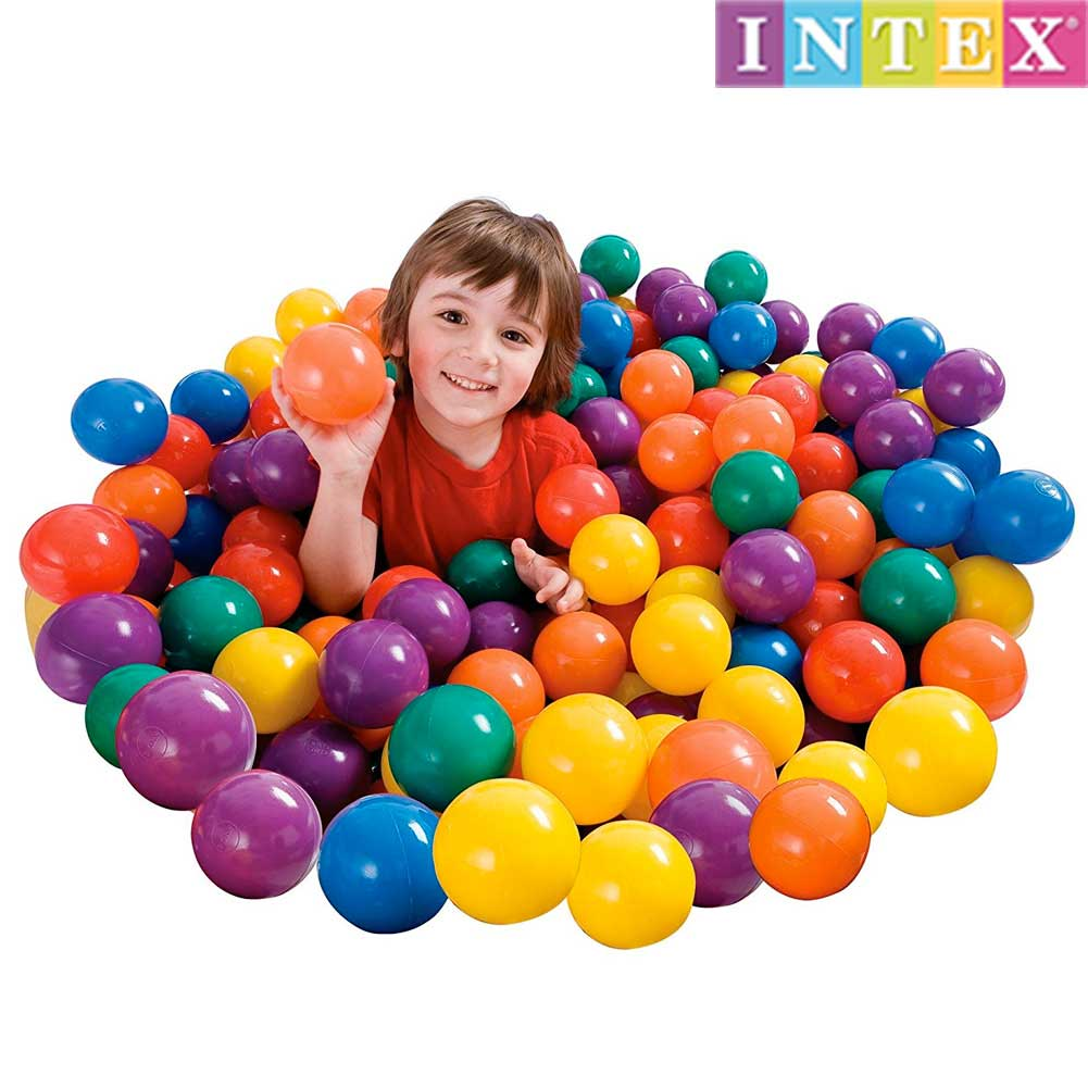 KIT 100 PALLINE COLORATE PER PISCINE GONFIABILI DIAMETRO 6,5 CM INTEX.